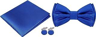 Twenty Dollar Tie Men`s Silk Solid Pre-Tied Bow Tie Pocket Square and Cuff-links Set