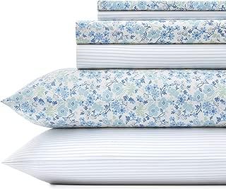 Laura Ashley Jaynie/Ticking Stripe Sheet Set, Queen, Wintergreen