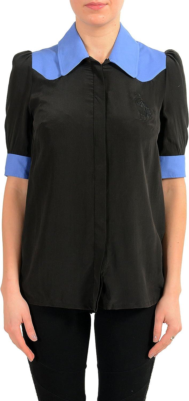 Just Cavalli Women's Silk Button Down Blouse Short Sleeve Shirt US S IT 40