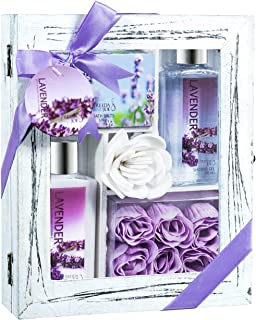 Lavender & White Rose and Jasmine Bath Gift Set in Distressed White Wood Curio (Lavender)