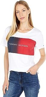 Tommy Hilfiger womens Hilfiger Ombre Flag Logo Tee Tommy Hilfiger Ombre Flag Graphic Tee
