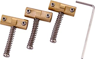 Wilkinson Compensated Brass Saddles Set (3) - 10.8mm Barrel-Style Bridge Saddle with Wrench for Fender Telecaster Tele Vintage Electric Guitar Replacement Part