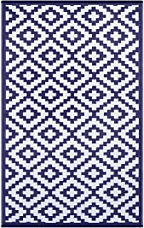 Outdoor Patio Rug (6 X 9, Navy/White)