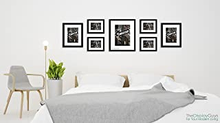 THE Display Guys 7 Piece Black Wooden Photo Frame Set, One 16x20 Inches, Two 11x14 Inches, Four 8x10 Inches, Each Frame comes with 1pc White Core Mat Board, Luxury Made Affordable