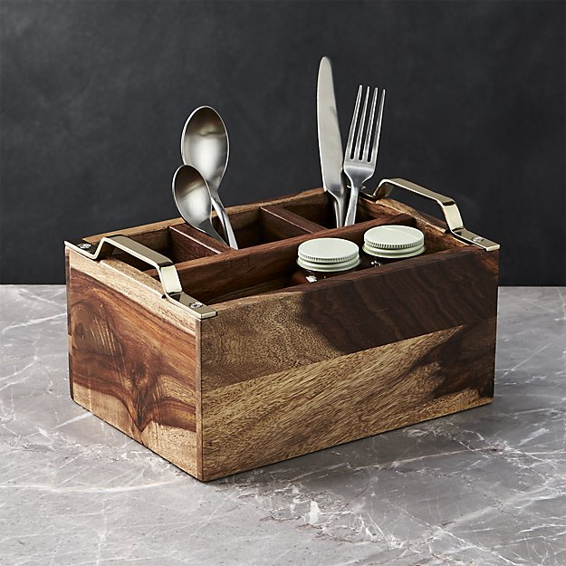 Beck Gold Flatware Caddy | Crate and Barrel