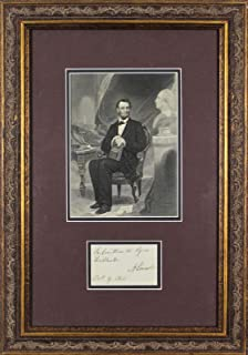 Abraham Lincoln Signed 1862 2x3.5 Framed Cut Signature BAS #A78896 - Beckett Authentication