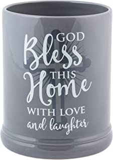 Elanze Designs God Bless This Home with Love Grey Stoneware Electric Jar Candle Warmer