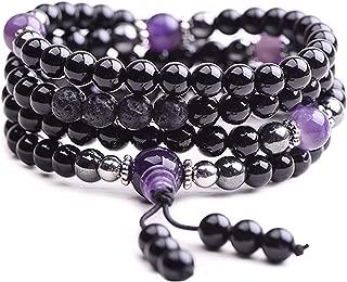 Onyx Bracelet - Prayer Beads - Mala Beads - Beaded Necklace - Wrap Bracelet - Anxiety Bracelet - Tibetan Bracelet - Japa Mala Necklace for Meditation