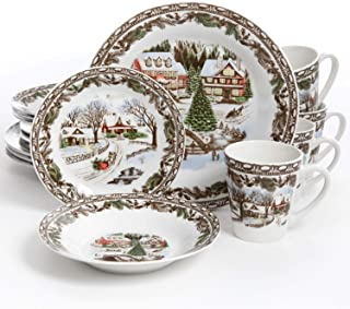 Gibson Home Christmas Toile 16 Piece Dinnerware Set, Multicolor – 102001.16RM