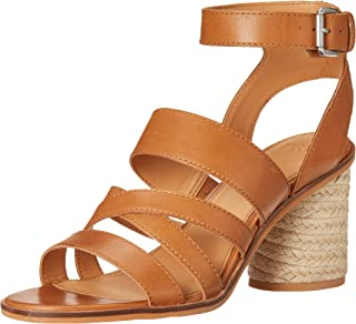 Frye Women's Leiah Mixed Strap Sandal Heeled, Cognac, 9.5 M US