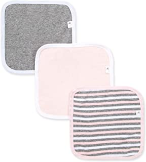 Burt's Bees Baby - Washcloths, Absorbent Knit Terry, Super Soft 100% Organic Cotton (Pink & Grey, 3-Pack)