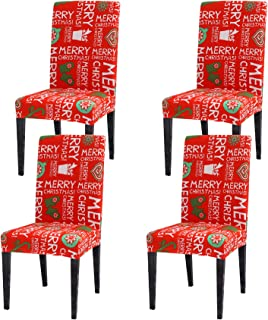 Best Ogrmar 4PCS Stretch Removable Washable Dining Room Chair Protector Slipcovers Christmas Decoration/Home Decor Dining Room Seat Cover (Christmas-A) (Vermilion) Reviews