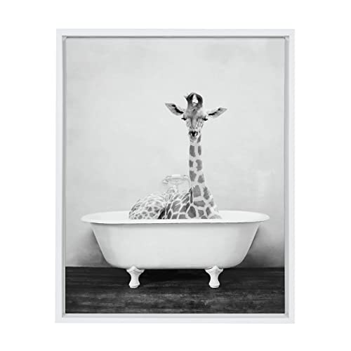 Kate and Laurel Sylvie Giraffe 2 in The Tub Framed Canvas Wall Art by Amy Peterson, 18x24 White, Whimsical Animal Art for Wall