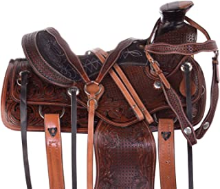 "AceRugs 14"" 15"" 16"" 17"" Premium Roping Horse Saddle Western Leather Tooled TACK Set Big Pie Horn Antique Oil"