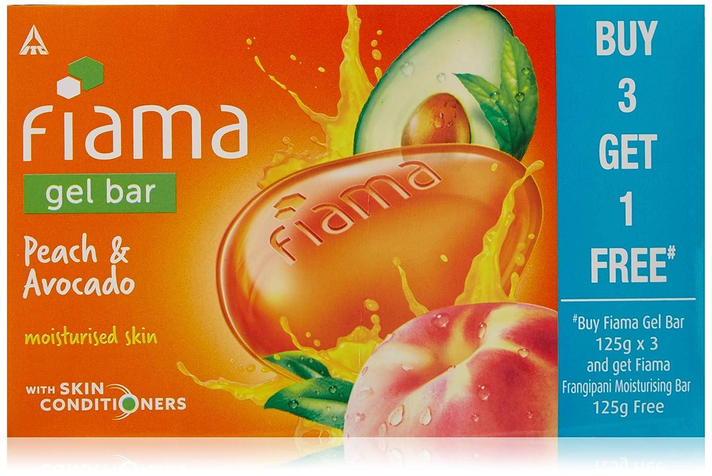 連結するバレル地元Fiama BUY Gel Bathing Bar, Peach and Avocado, 125g*3+GET 1 Fiama frangipani moisturising bar 125g free (Buy 3 Get 1 Free)