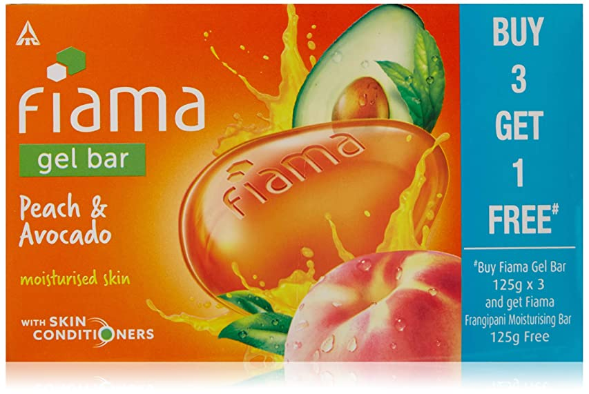 基本的な冷淡な維持Fiama BUY Gel Bathing Bar, Peach and Avocado, 125g*3+GET 1 Fiama frangipani moisturising bar 125g free (Buy 3 Get 1 Free)