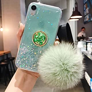 MayCase iPhone 11 Pro Max Case, iPhone 11 Pro Max Glitter Ring Kickstand Case for Girls Women with Bling Sparkle Diamond Rhinestone Stand Holder and Furry Fur Ball Wrist Strap (Green Pompom)