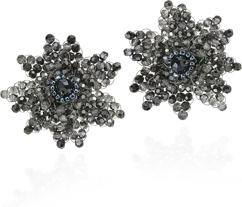Midnight Sparkle Smokey Fashion Crystal & Fashion Beads Burst Clip-On Earrings