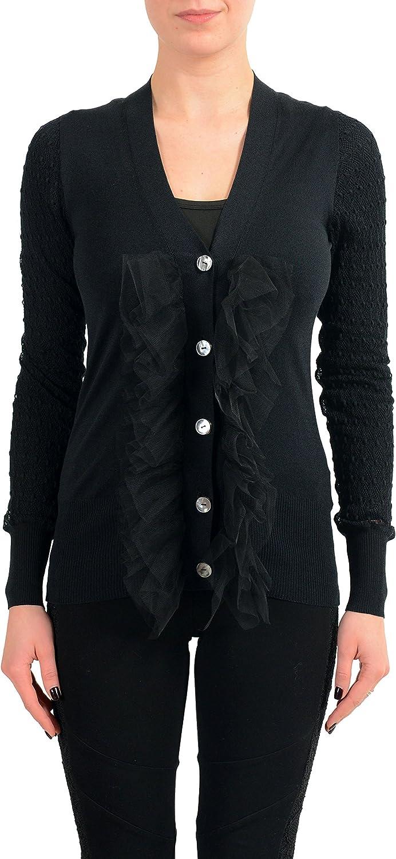 Viktor & Rolf Women's Black Ruffle Decorated Light Cardigan Sweater US S IT 40