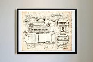 DolanPaperCo #268 Ford Mustang Shelby GT500 Eleanor 1967 Art Print, da Vinci Sketch – Unframed – Multiple Size/Color Options (16x20, Vintage)