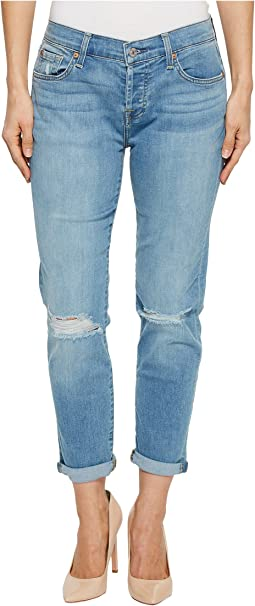 7 For All Mankind Josefina w/ Knee Holes Skinny Boyfriend in Bright Palm 2