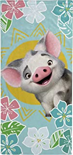 Jay Franco Disney Moana Flower Sun Kids Bath/Pool/Beach Towel - Featuring Pua Pig - Super Soft & Absorbent Fade Resistant Cotton Towel, Measures 28 inch x 58 inch (Official Disney Product)