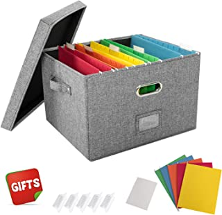 JSungo 2 Pack File Organizer Box Office Document Storage with Lid, Collapsible Linen Hanging Filing Organization, Home Portable Storage with Handle, Letter Size Legal Folder, Grey