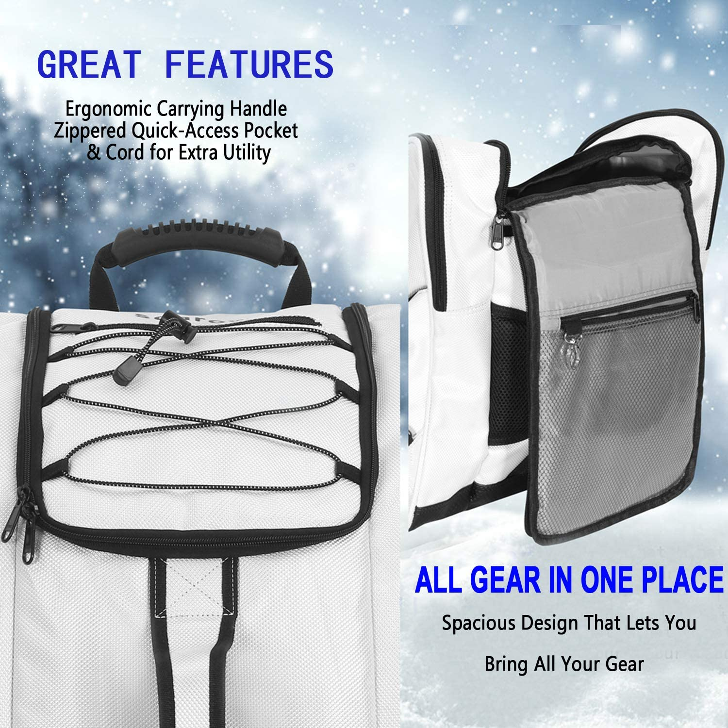 for Men Skiing Travel Luggage Women and Youth Excellent for Travel with Waterproof Exterior /& Bottom SoarOwl Ski Boot Bag