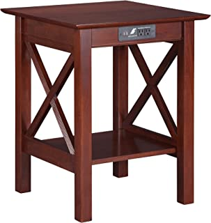 Atlantic Furniture Lexi Printer Stand with Charging Station, Walnut