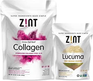 Zint Collagen Powder XL (32 oz) + Lucuma Powder (8 oz): Paleo-Friendly, Keto-Certified Collagen Peptides Protein and Premium Organic Lucuma Fruit Superfood