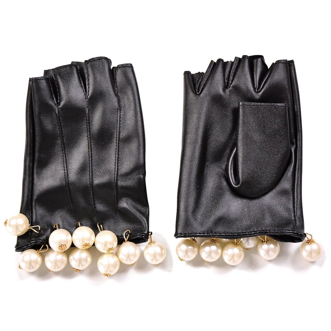 ジュラシックパークリアルそばにエレガント フェイクレザー ショートグローブ グローブ 手袋 パール フリル