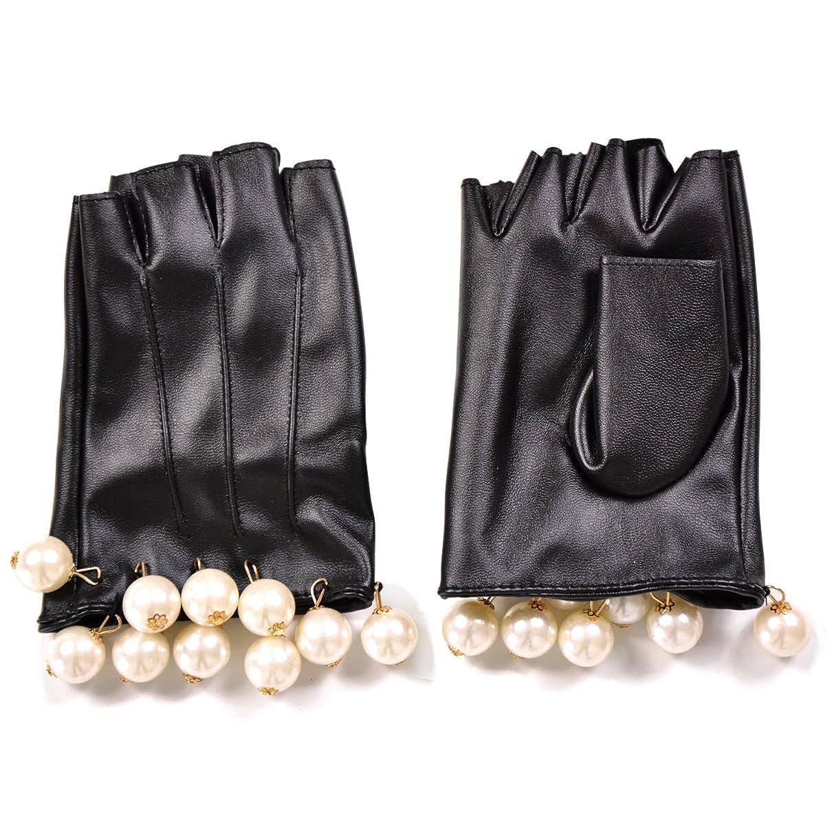 生き残り勤勉セッションエレガント フェイクレザー ショートグローブ グローブ 手袋 パール フリル