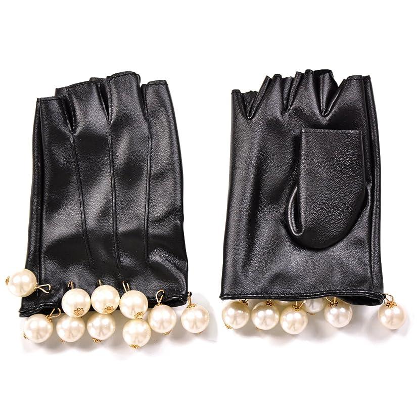 ピクニック出費第二エレガント フェイクレザー ショートグローブ グローブ 手袋 パール フリル