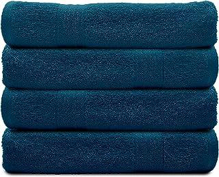 Sassoon 4 Piece Bath Towel Set, Cotton, Quick Dry, Lightweight, Everyday Use, Maximum Softness, Highly Absorbent, Extra Va...