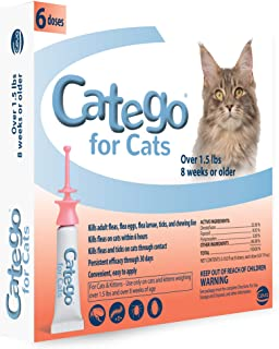 Catego Fast-Acting Flea & Tick Treatment For Cats/Kittens (Over 1.5 lbs), Kills Fleas Within 6 Hours, Prevents Flea Re-Inf...