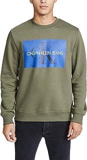 Calvin Klein Jeans 男士交织字母标志方块圆领运动衫