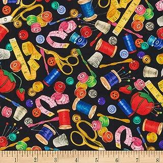 Robert Kaufman Sewing Buddies Notions Black, Fabric by the Yard