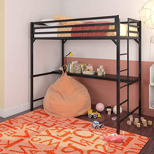 DHP Miles Metal Loft Bed With Desk Black Twin