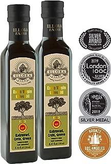 Ellora Farms   2019 Multiple Award Winning Certified Single Estate Extra Virgin Olive Oil   Traceable via lot number   First Cold Press   Kosher OU   8.45 oz Bottles   Pack of 2