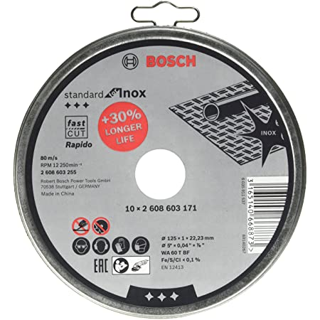 Bosch Professional 10disques à tronçonner Standard for Inox Rapido WA 60 T BF (pour l'acier inoxydable, Ø 125mm, droits, accessoires meuleuse angulaire)