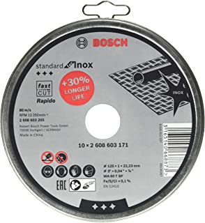 Bosch Professional 10disques à tronçonner Standard for Inox Rapido WA 60 T BF (pour l'acier inoxydable, Ø 125mm, droits,...