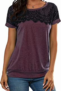 Lace Shirts for Women, Elegant Lace Tops Short Sleeve...