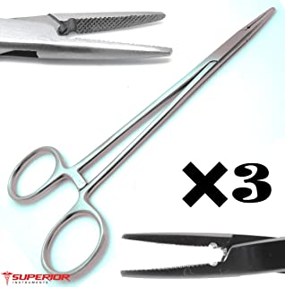"""3 Pcs Dental Veterinary Crile Wood Needle Holder 6"""" Locking Ratched Surgical Instruments"""