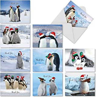 10 'Penguins and Greetings' Thank You Christmas Cards, Cute Penguin Family Gratitude Holiday Cards 4 x 5.12 inch, Winter Birds Holiday Notes, Fun Penguin Seasons Greetings Cards M2951XTG-B1x10