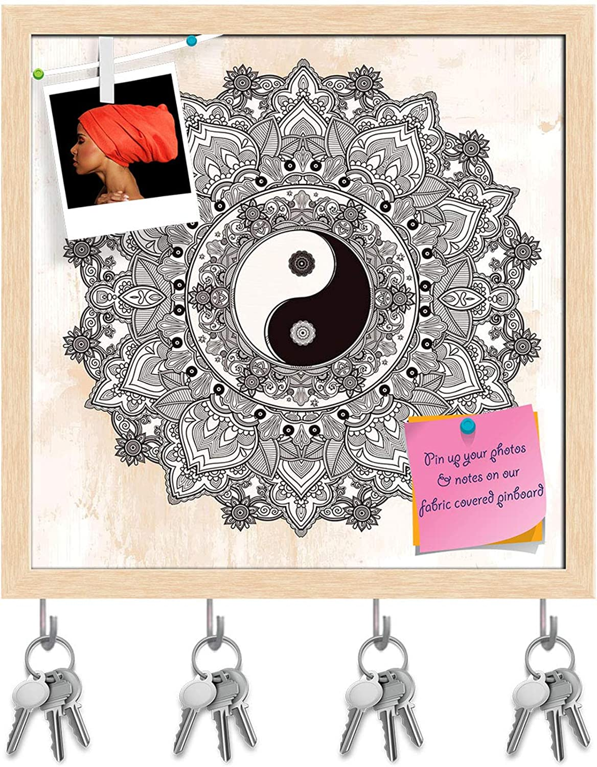 Artzfolio Yin & Yang Tao Mandala Symbol Key Holder Hooks   Notice Pin Board   Natural Brown Frame 20 X 20Inch