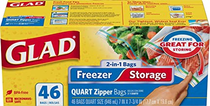 Glad Zipper Food Storage and Freezer 2 in 1 Plastic Bags - Quart - 46 Count (Package May Vary)