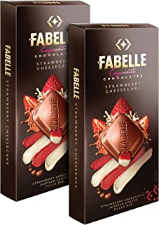 Fabelle Strawberry Cheesecake, Pack of 2x131g, Luxury Milk Chocolate Centre-Filled Bar with Strawberry and Cheese Mousse