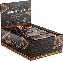 Marchio Amazon- Amfit Nutrition Barretta proteica a basso contenuto di zuccheri (19,6gr proteine - 0,8gr zucchero) - fondente al cioccolato - Confezione da 12 (12x60g)