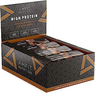 Marca Amazon- Amfit Nutrition Barra de proteína baja en azúcar  (19,6gr proteina - 0,8gr azúcar) - fondant de chocolate - Pack de 12 (12x60g)