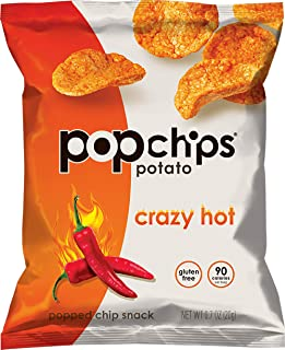 Popchips Potato Chips, Crazy Hot, 0.7 Ounce Snack Packs, 24 Count